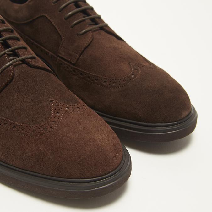 chaussures basses brogue en suède bata, Brun, 823-4129 - 15