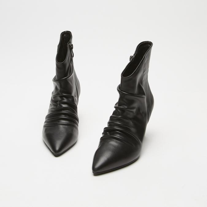 bottines en vrai cuir à effet ondulé bata, Noir, 794-6764 - 16