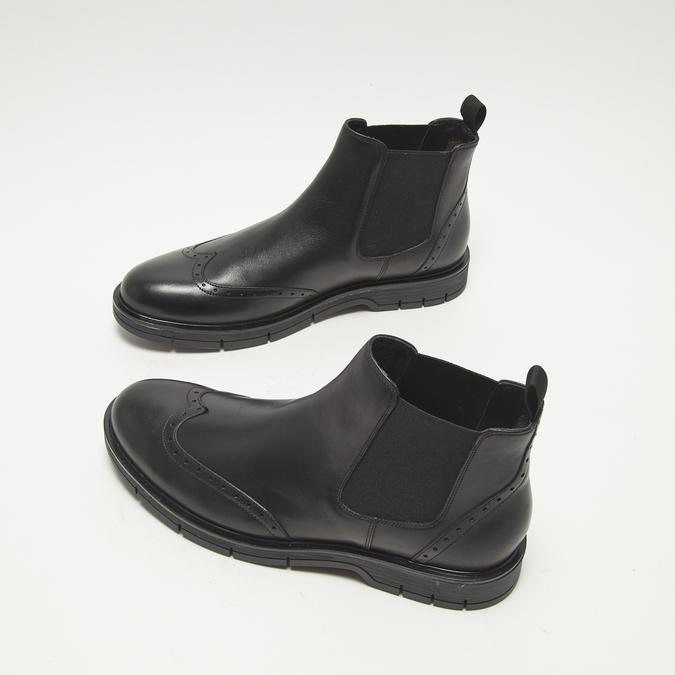 bottines chelsea à piqué brogue flexible, Noir, 894-6138 - 16