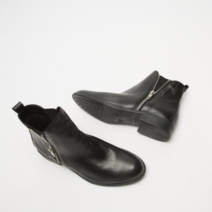 bottines en vrai cuir et à fermeture éclair latérale bata, Noir, 594-6428 - 19