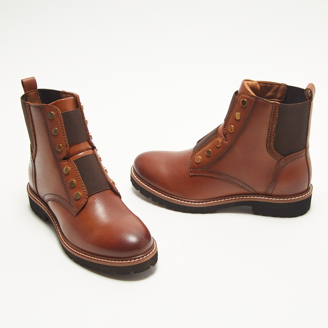 bottines en vrai cuir bata, Brun, 594-4849 - 16