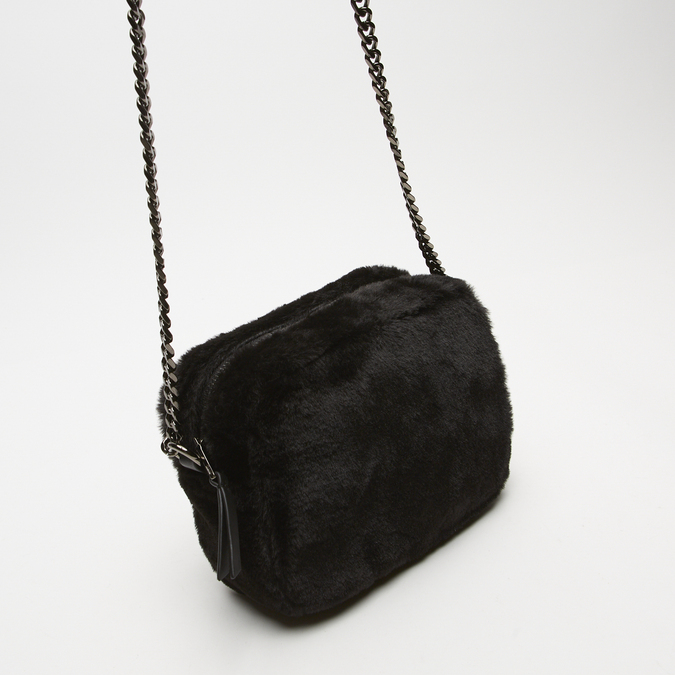 sac à bandoulière avec fourrure bata, Noir, 969-6193 - 16