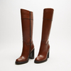 bottes en cuir en-dessous du genou à talons larges bata, Brun, 794-4464 - 26