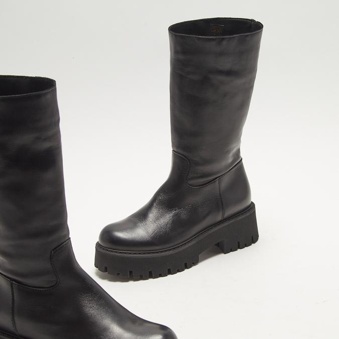combat boots en cuir à semelles track bata, Noir, 594-6836 - 16