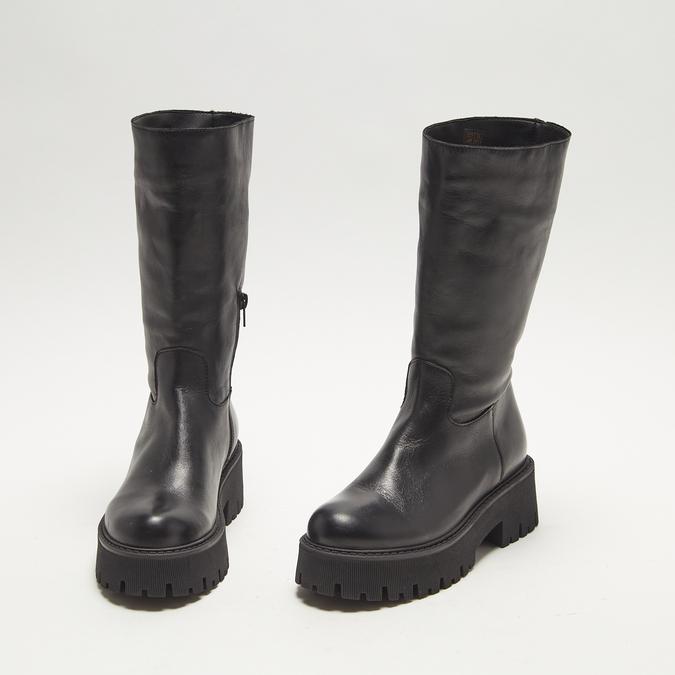 combat boots en cuir à semelles track bata, Noir, 594-6836 - 26