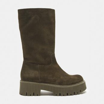 combat boots en suède à semelles track bata, Vert, 593-7836 - 13