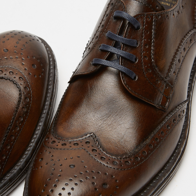 chaussures basses brogue en cuir bata, Brun, 824-4300 - 15